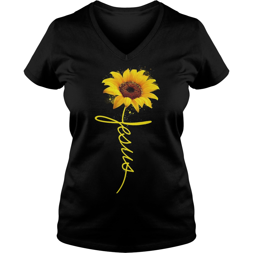 Sunflower Jesus V-neck T-shirt