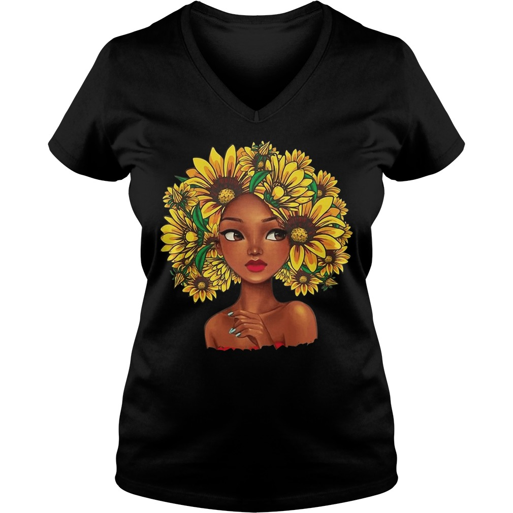 Sunflower natural hair for girl V-neck t-shirt
