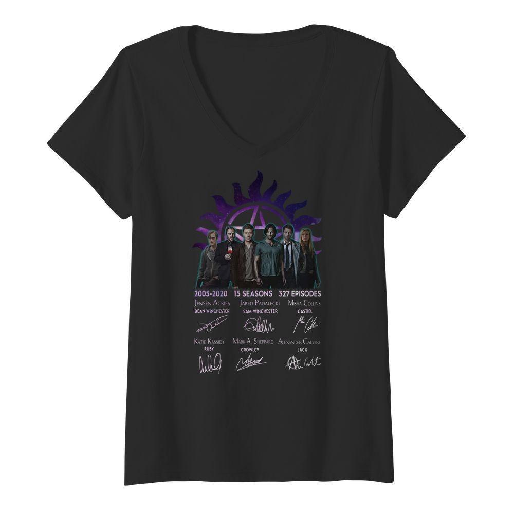 Supernatural 2005-2020 15 seasons 327 episides signatures V-neck T-shirt