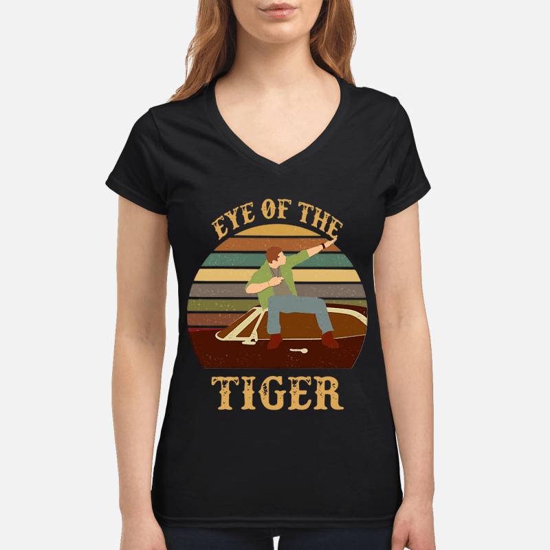 Survivor Eye of the tiger retro V-neck t-shirt