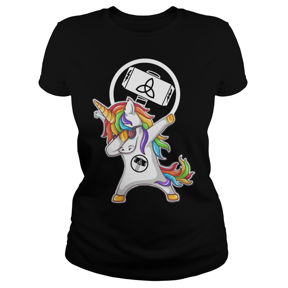 Thor Unicorn Dabbing Ladies tee
