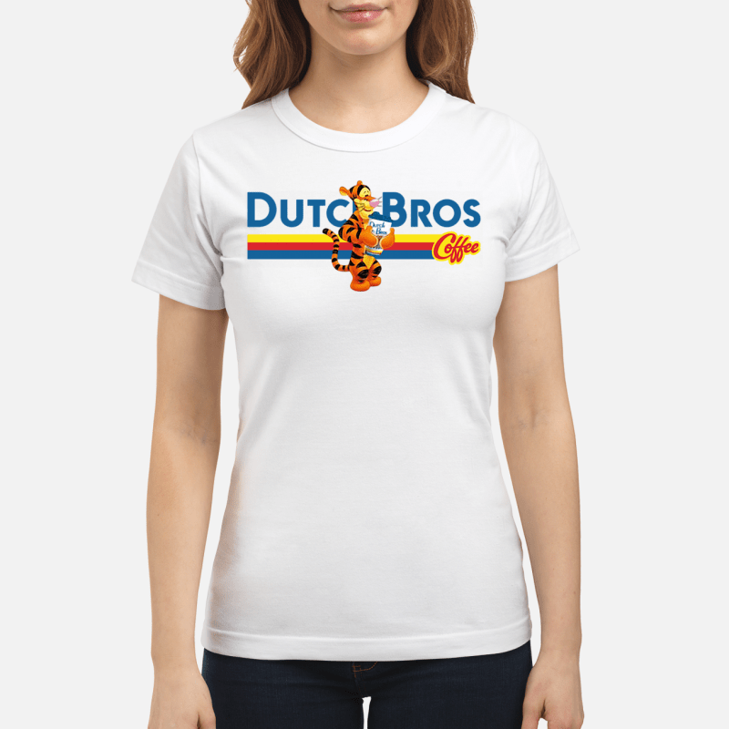 Tigger drinking Dutch Bros coffee Ladies tee