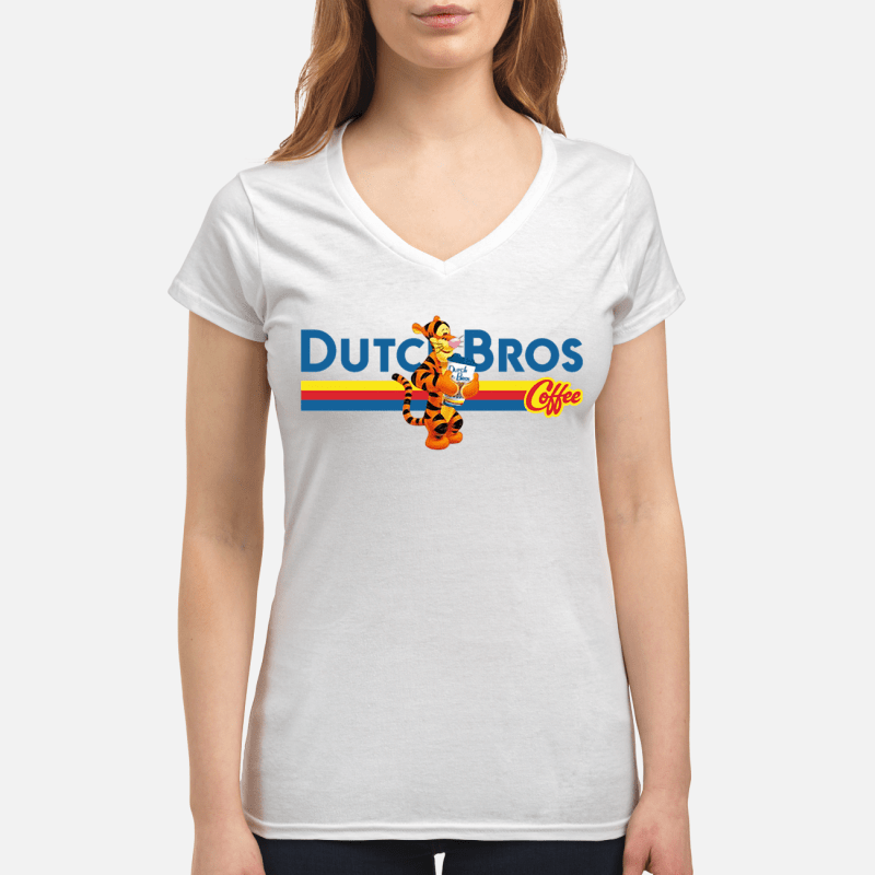 Tigger drinking Dutch Bros coffee V-neck t-shirt