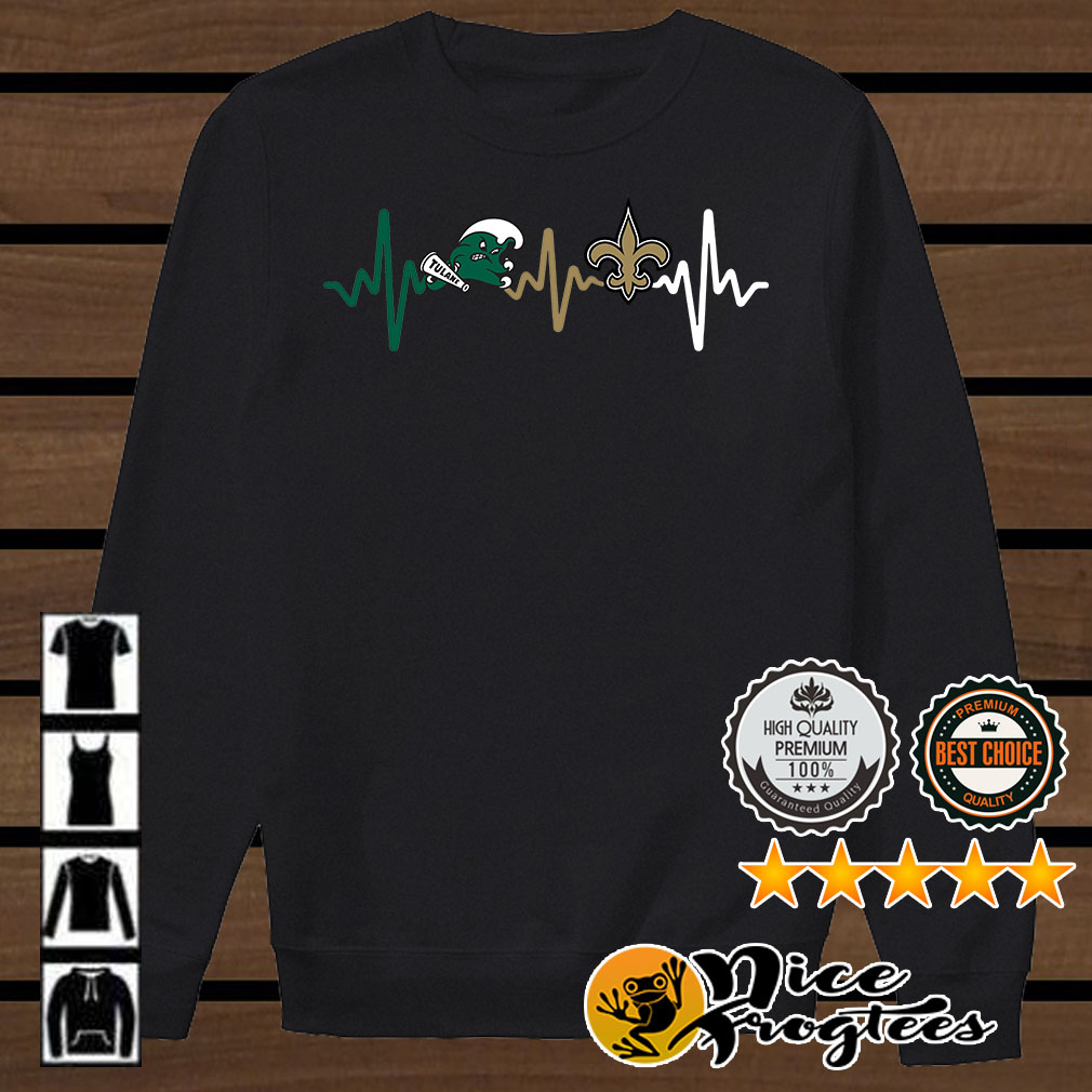Tulane Green Wave and New Orleans Saints heartbeat shirt