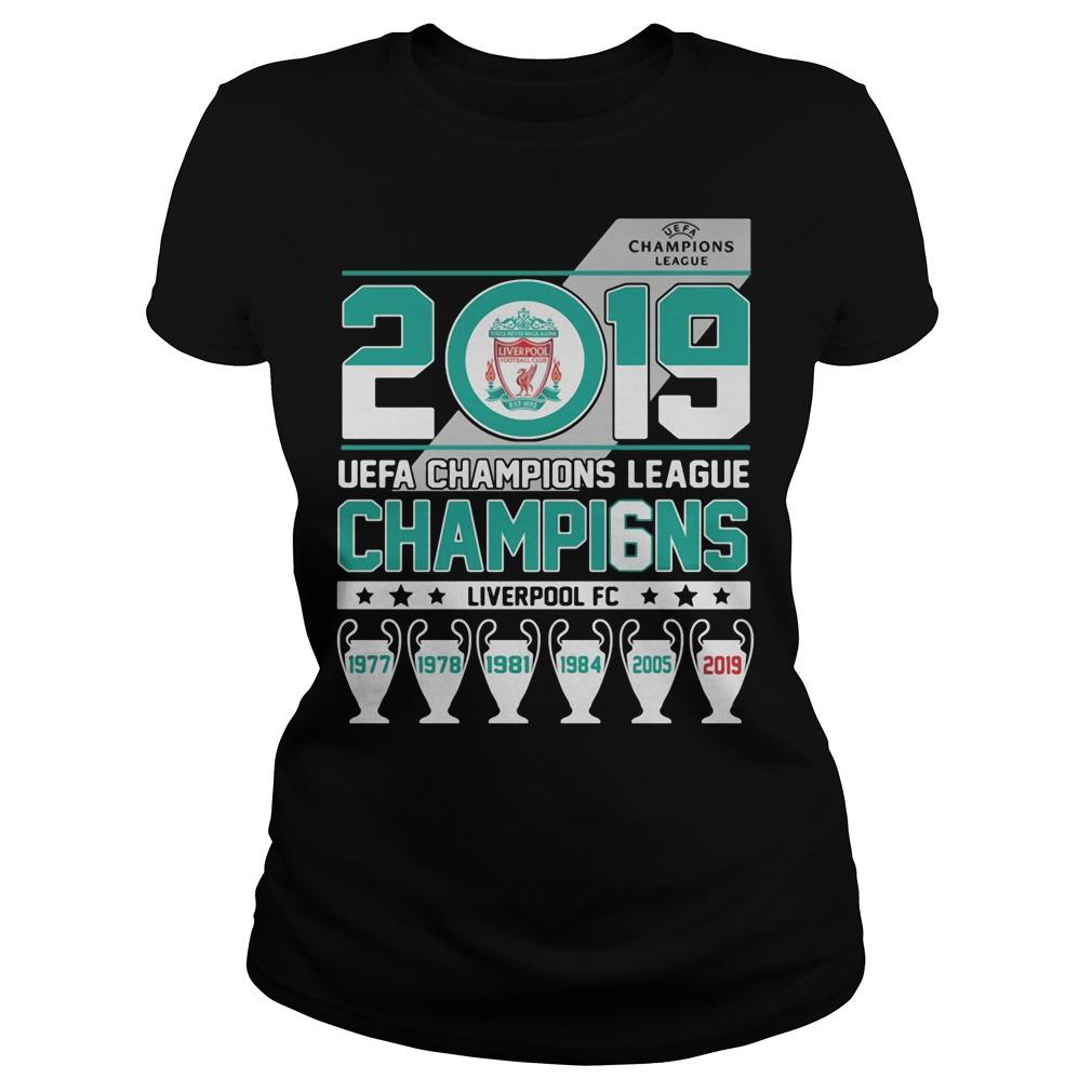UEFA Champions League 2019 Champio6ns Liverpool FC Ladies tee
