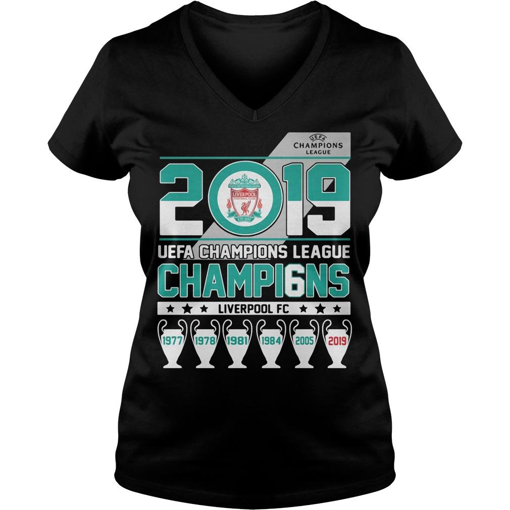 UEFA Champions League 2019 Champio6ns Liverpool FC V-neck t-shirt