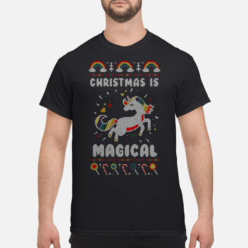 Unicorn Christmas is magical Guys shirt