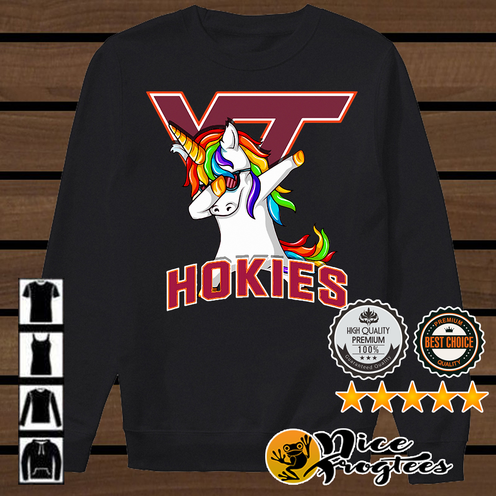 Unicorn dabbing Virginia Tech Hokies shirt