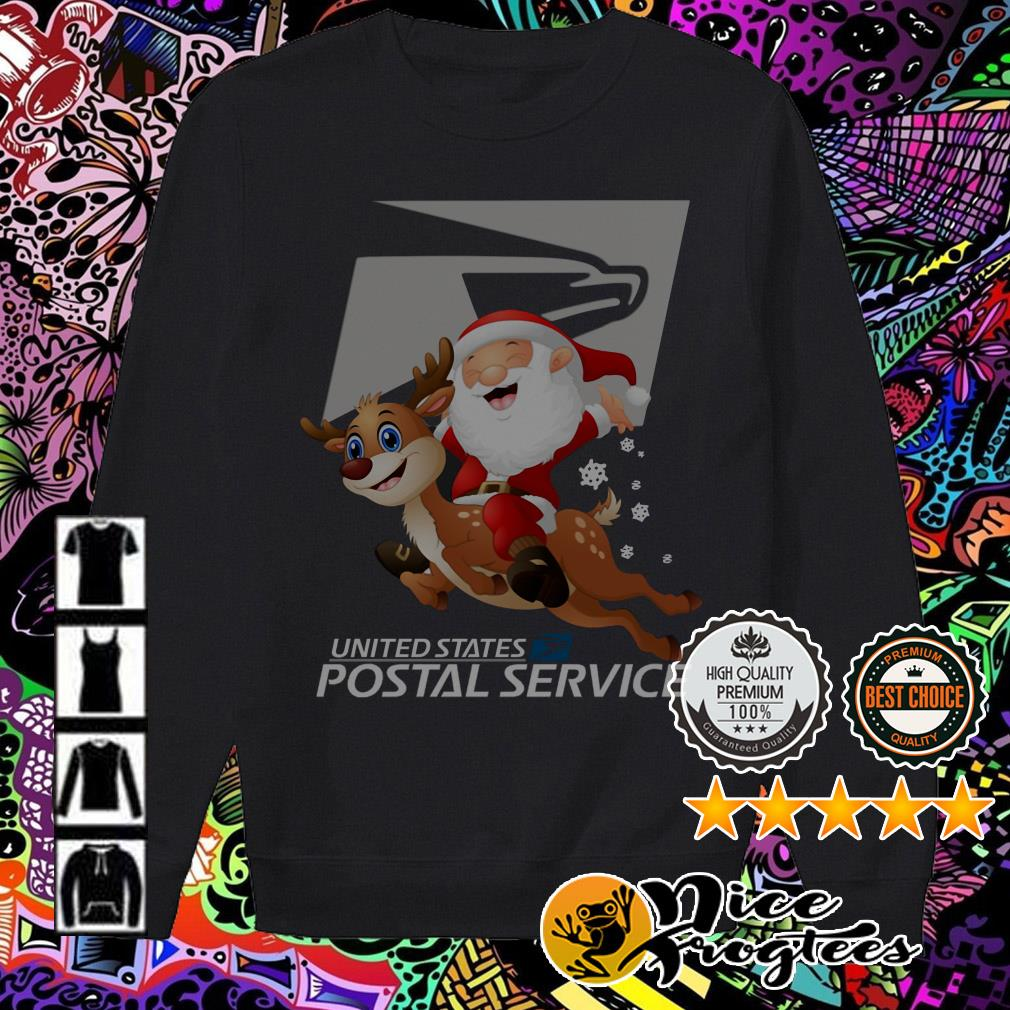 United States Postal Service Santa Claus riding Reindeer Christmas Sweater
