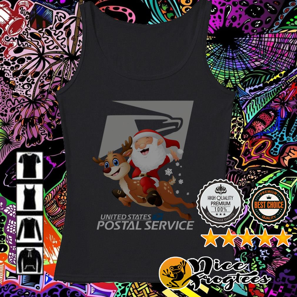 United States Postal Service Santa Claus riding Reindeer Christmas Tank top