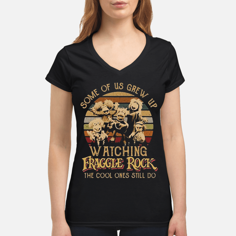 Some of us grew up watching Fraggle rock the cool ones still do retro V-neck t-shirt