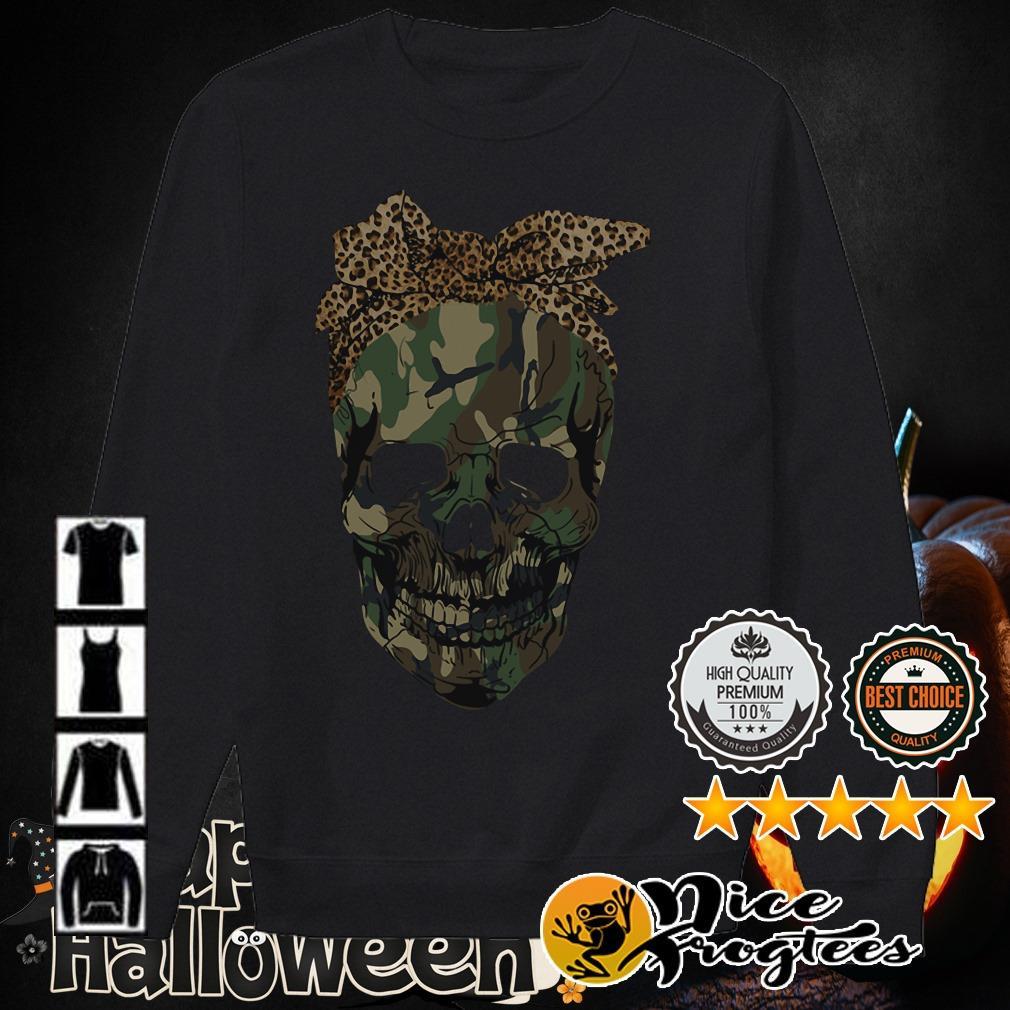 Veteran Skull wearing bandana leopard shirt