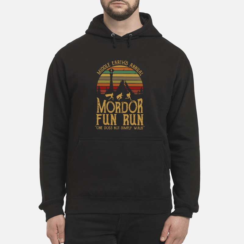 44431c386 Vintage middle earth's annual Mordor fun run one does not simply walk shirt