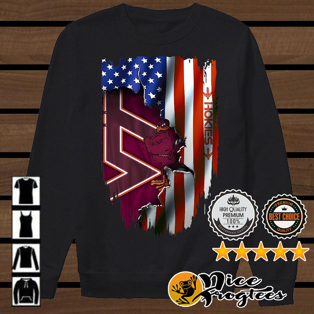Virginia Tech Hokies inside American flag shirt