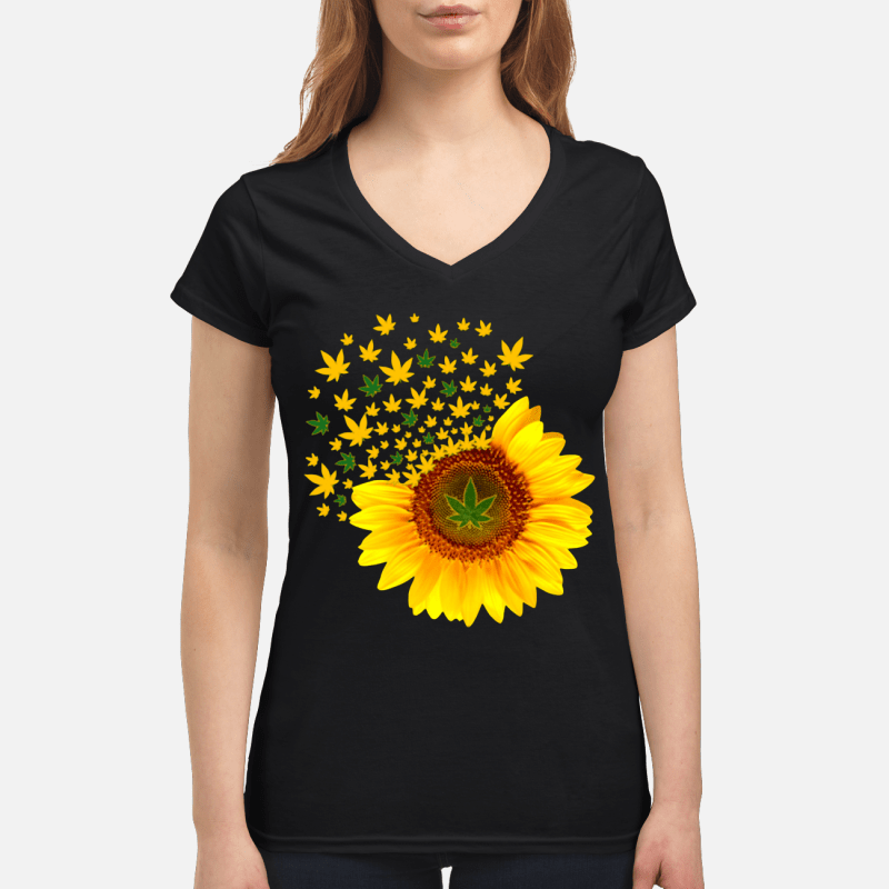 Weed sunflower V-neck t-shirt