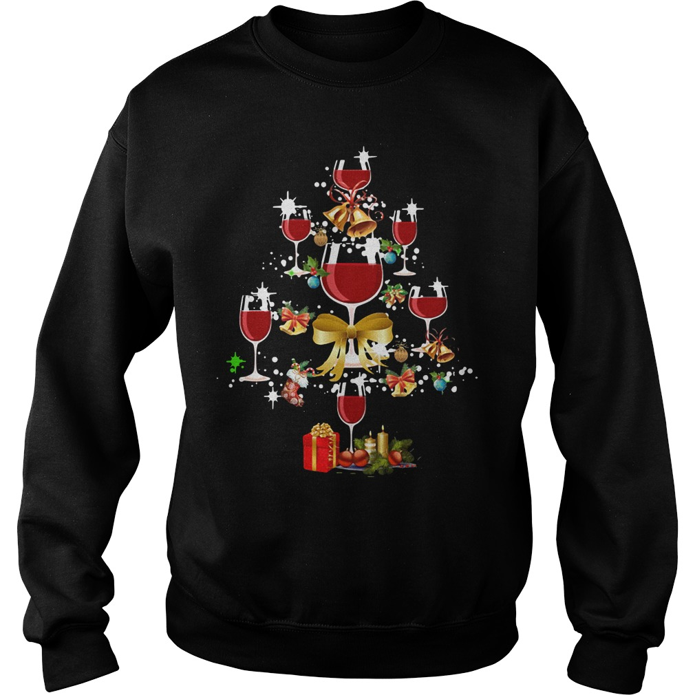 Wine glass Christmas tree Sweater