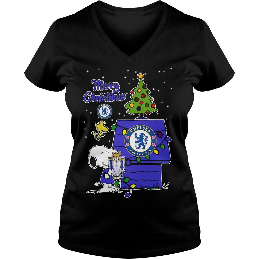 Snoopy Woodstock Chelsea Merry Christmas V-neck T-shirt