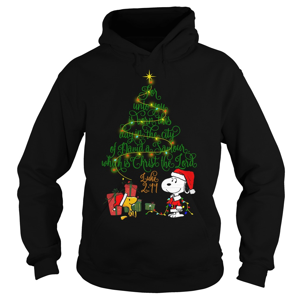 Snoopy Woodstock Christmas tree for unto you is born this day Hoodie