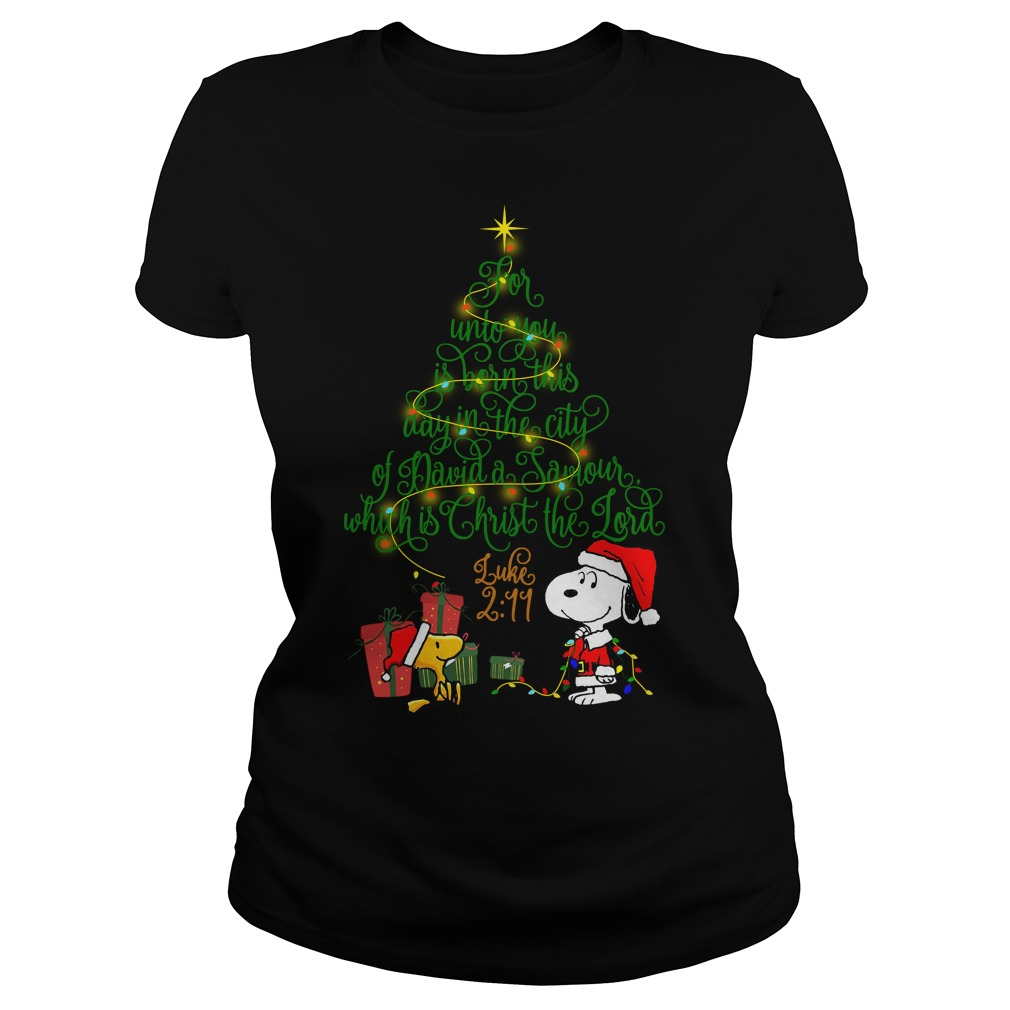 Snoopy Woodstock Christmas tree for unto you is born this day Ladies tee