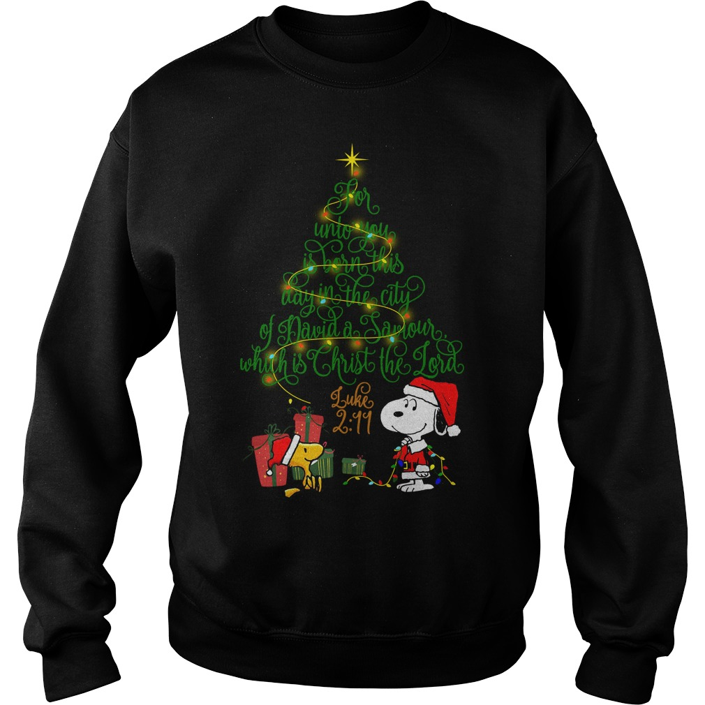 Snoopy Woodstock Christmas tree for unto you is born this day Sweater