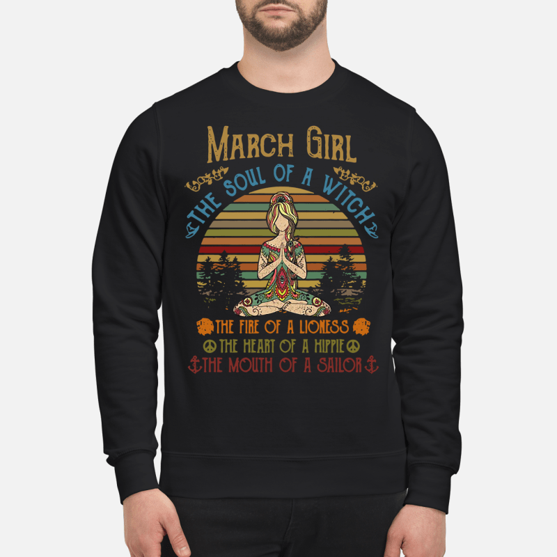 aedb7a52 Yoga March woman the soul of a witch the fire of a lioness retro Sweater