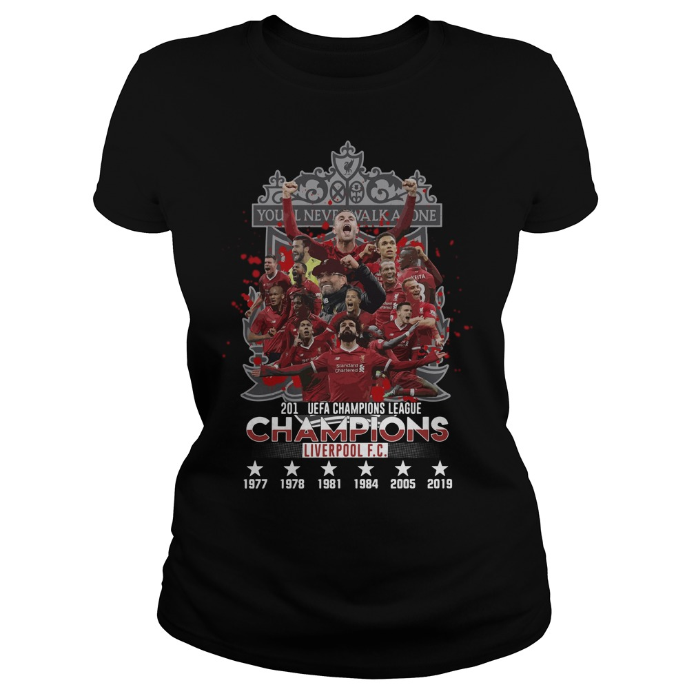 You'll never walk alone 2019 UEFA Champions League Liverpool FC Ladies tee