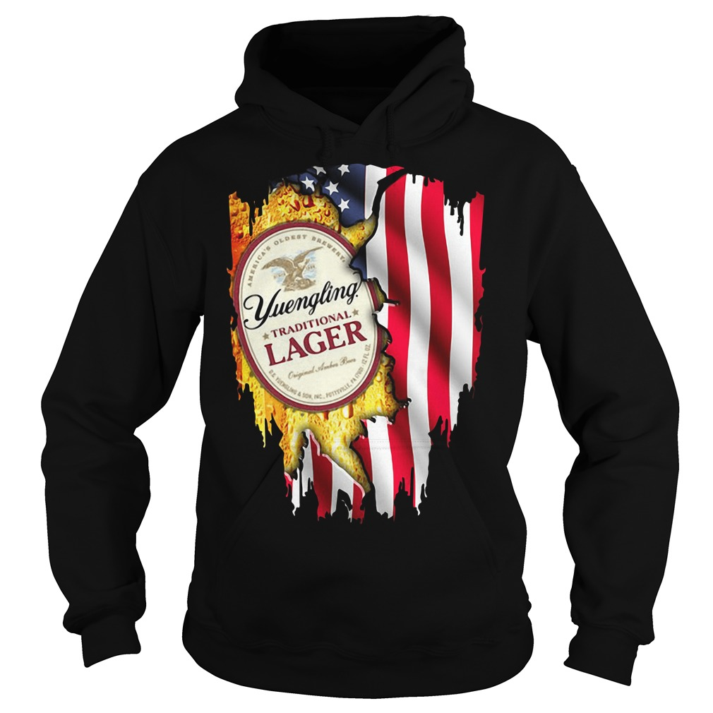 Yuengling Traditional Lager inside American flag Hoodie