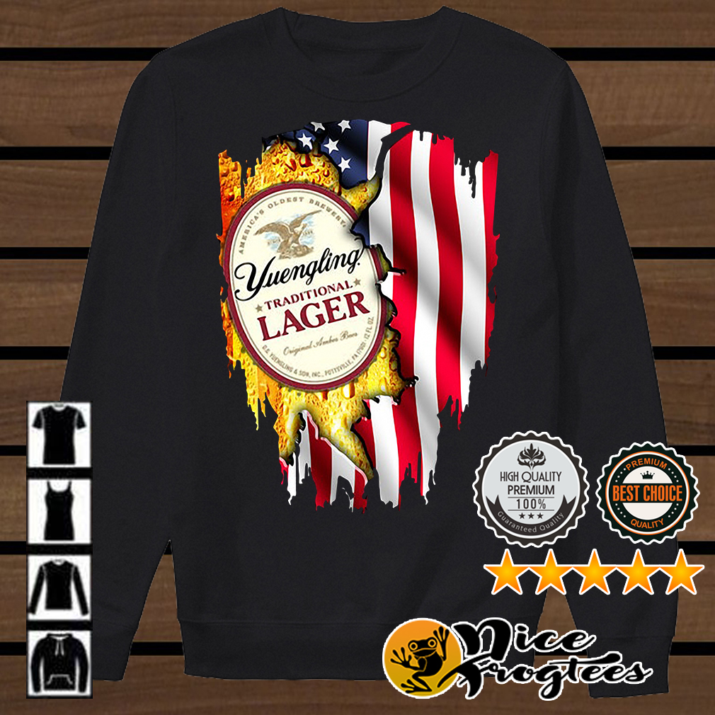 Yuengling Traditional Lager inside American flag shirt