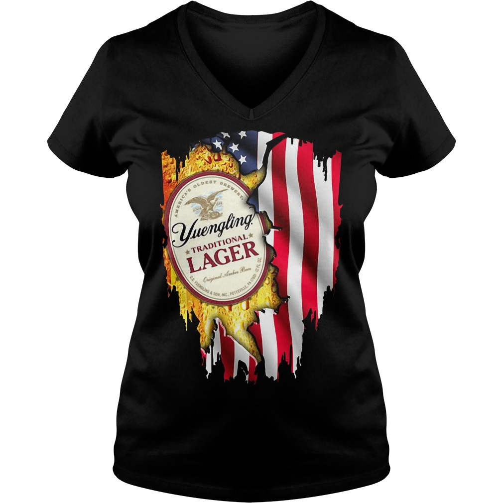 Yuengling Traditional Lager inside American flag V-neck t-shirt